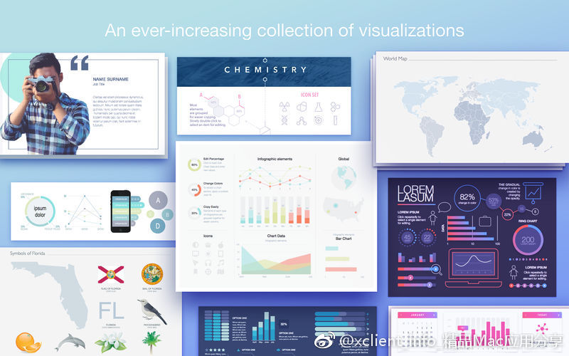 Infographics Maker - Templates 3.3 Illustrate及Pages设计模板套件