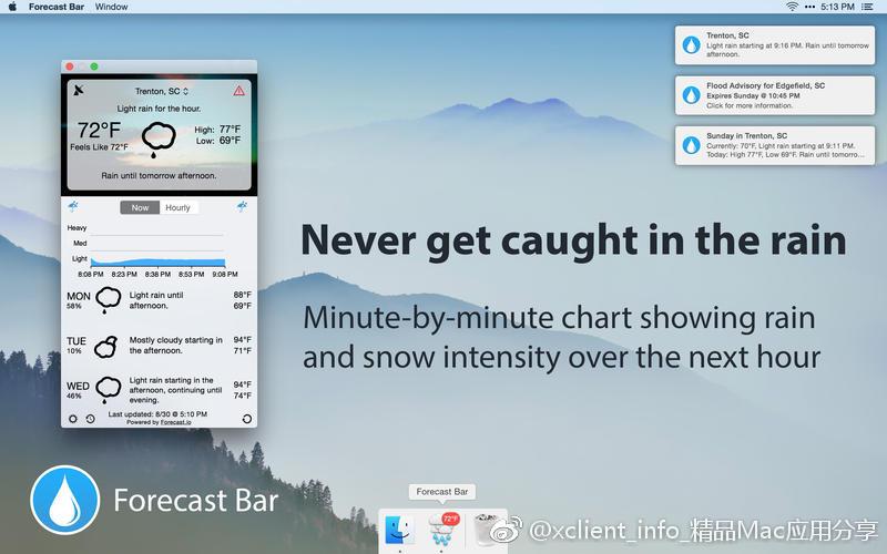 Forecast Bar 5.0.2 实用的菜单栏天气预报