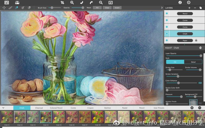 JixiPix Pastello Pro 1.1.7 铅笔、粉笔、木炭、蜡笔风格照片