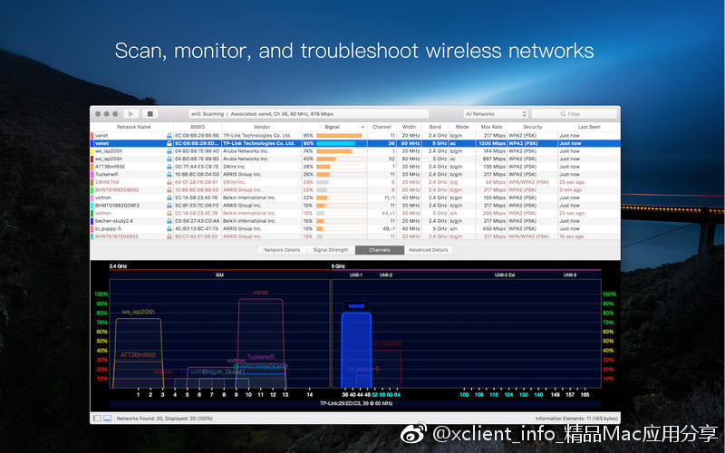 WiFi Explorer 2.6 WiFi无线扫描和管理